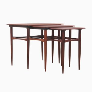 Mid-Century Modern Scandinavian Nesting Tables in Rio Rosewood by Poul Hundevad, 1960s