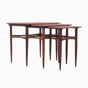 Tavolini a incastro Mid-Century moderni in palissandro brasiliano di Poul Hundevad, Scandinavia, anni '60