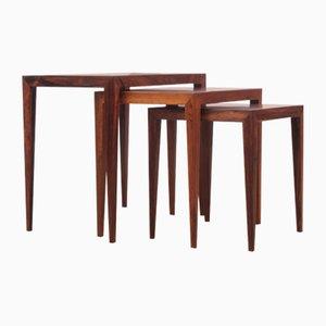 Tavolini a incastro Mid-Century moderni in palissandro brasiliano di Severin Hansen per Haslev Mobelfabrik, anni '60