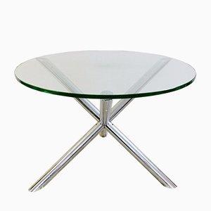 Tavolo da pranzo rotondo in vetro e metallo cromato, anni '70
