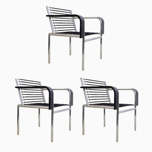Vintage Black Sandows Armchairs, Set of 3