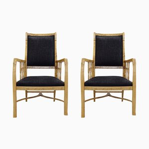 Swedish Birch Armchairs, 1920s, Set of 2