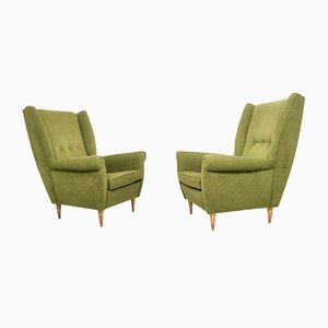 Olivgrüne Sessel, 1950er, 2er Set