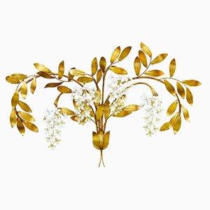 Große Florale Mid-Century Wandlampe von Maison Bagues