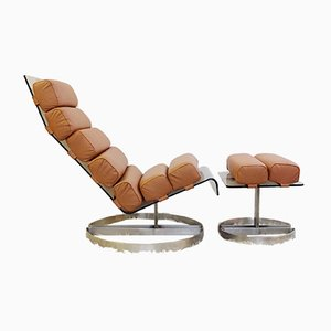 Sedia ed ottomana in plexiglas e acciaio, anni '80, set di 2