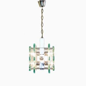 Lámpara colgante de seis brazos de metal cromado y vidrio de Fontana Arte