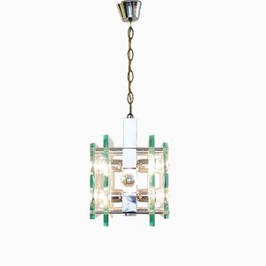 Six-Light Chrome & Glass Pendant from Fontana Arte