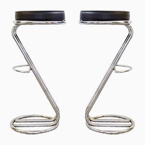 Tabourets de Bar Mid-Century Modernes en Chrome, Set de 2