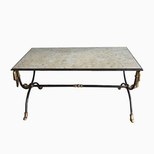 Brushed Steel & Brass Coffee Table by Maison Jansen, 1970s