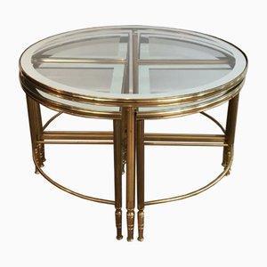 Mesa de centro redonda de latón y 4 mesas nido, años 60