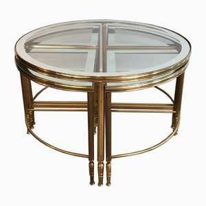 Round Brass Coffee Table & 4 Nesting Tables, 1960s