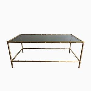 Table Basse en Faux Bambou et Laiton, 1940s