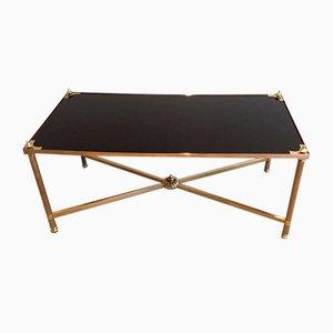 Table Basse Rectangulaire Vintage en Laiton et Verre Laqué