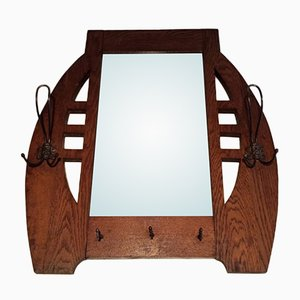 Antique Oak and Brass Mirror
