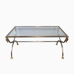 Mesa de centro vintage de acero cepillado y latón con cabezas y pies de cisne