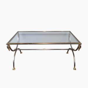 Vintage Brushed Steel and Brass Coffee Table with Swan Heads and Feet