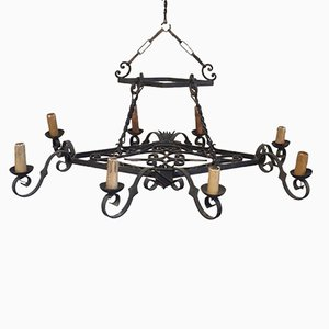Grand Lustre en Fer Forgé, 1950s