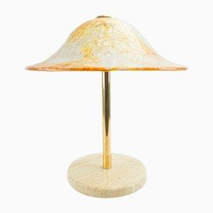 Lámpara de mesa de cristal de Murano y latón de Temde, años 60