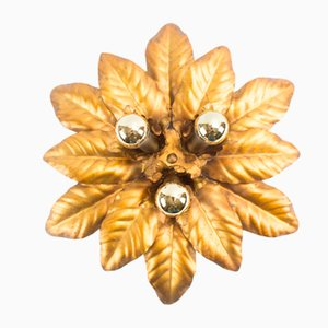 Golden Florentine Leaf Wall Lamp, 1960s