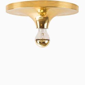 Lámpara de techo de latón con forma de disco, años 60