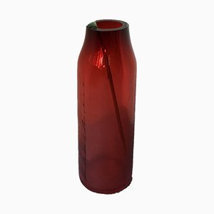 Large Raw Ruby Red Glass Vase by Milena Kling