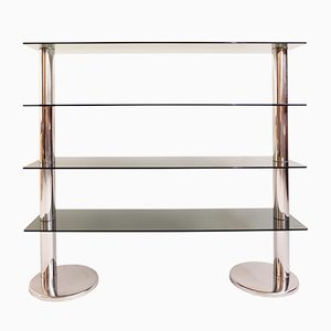 Italian Chromed Metal and Smoked Glass Bookshelf, 1960s