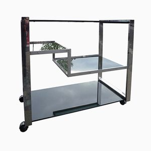 Chrome & Smoked Glass Serving Trolley, 1970s