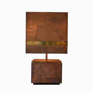 Lampada da tavolo in rame e ottone, anni '70