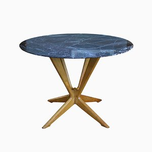 Table Circulaire en Hêtre et Marbre, 1950s