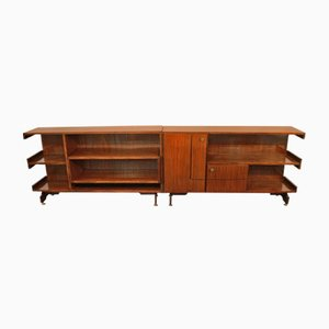 Modular Sideboards in Veneered Rosewood and Brass, 1960s, Set of 2