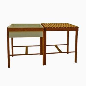 Tavolino e portapiante in quercia, anni '50