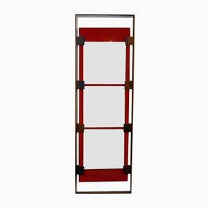 Espejo de pared de madera maciza y terciopelo rojo de Ico Parisi para Stildomus, años 60