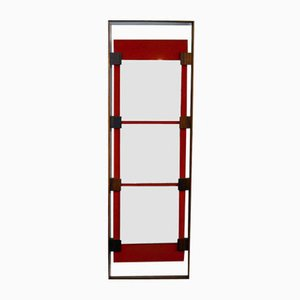 Wall Mirror in Rosewood and Red Velvet by Ico Parisi for Stildomus, 1960s