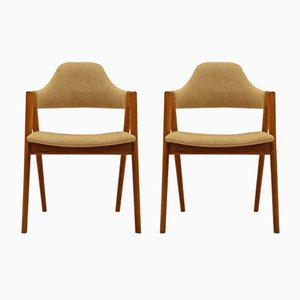 Vintage Teak Stühle mit Wollstoff von Kai Kristiansen für Schou Andersen, 2er Set