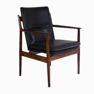 Mid-Century Model 431 Black Leather & Rosewood Armchair by Arne Vodder for SIbast