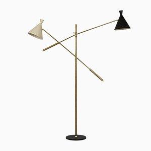 Lámpara de pie italiana Mid-Century grande de latón