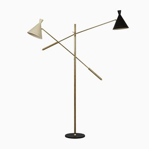 Large Mid-Century Italian Brass Floor Lamp