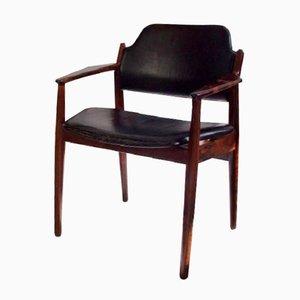 Mid-Century Modell 62 A Stuhl aus Schwarzem Leder von Arne Vodder für Sibast