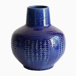 Vase Bleue Scandinave Mid-Century par Per & Annelise Linnemann-Schmidt pour Palshus, 1960s