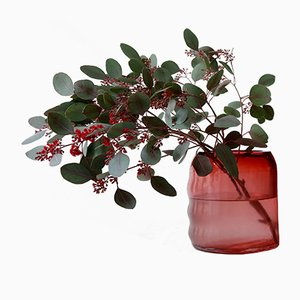 Small Raw Ruby Red Glass Vase by Milena Kling