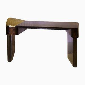 Moon Schreibtisch aus Poliertem Messing & Holz von Privatiselectionem