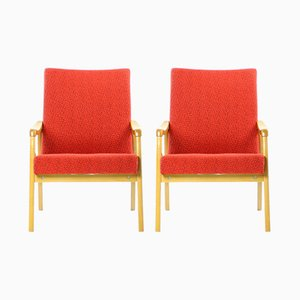 Red Armchairs from Interier Praha, 1960s, Set of 2