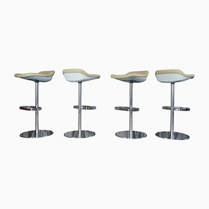 Cream Leather Turtle Bar Stools by PearsonLloyd for Walter Knoll, 2005, Set of 4