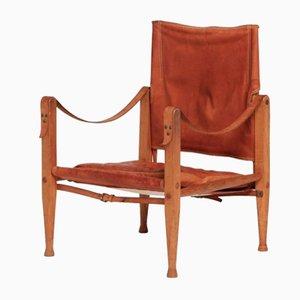 Chaise Safari en Cuir par Kaare Klint pour Rud Rasmussen, 1960s