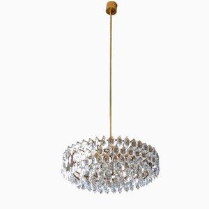 Lámpara de araña de cristal con marco de latón de Bakalowits & Sohne, años 60