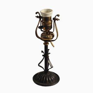 Lámpara antigua de latón, década de 1890