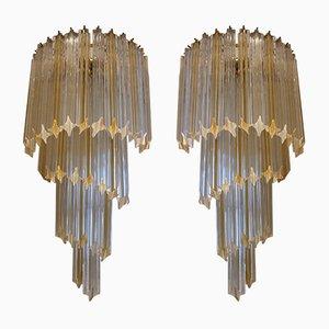 Lámparas de pared italianas de Paolo Venini, años 70. Juego de 2