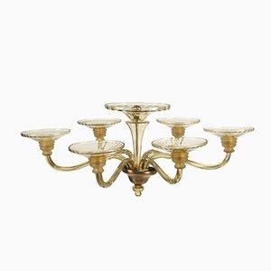 Lámpara de araña Art Déco vintage grande de cristal de Murano ámbar