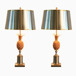 Pineapple Table Lamps for Maison Charles, 1960s, Set of 2