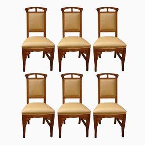 Chaises en Bois de Style Art Nouveau Vintage par Mobilificio Sello, Set de 6